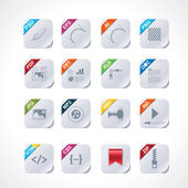 Simple square file labels icon set — Vector de stock