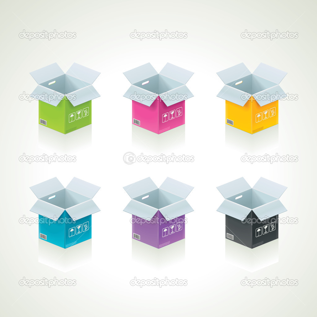 Set of detailed icons representing open color boxes  Stock Vector #9643213