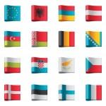 Vector flags. Europe, part 1 — Stock Vector