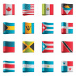 Vector flags. North and Central America - Stock Vector