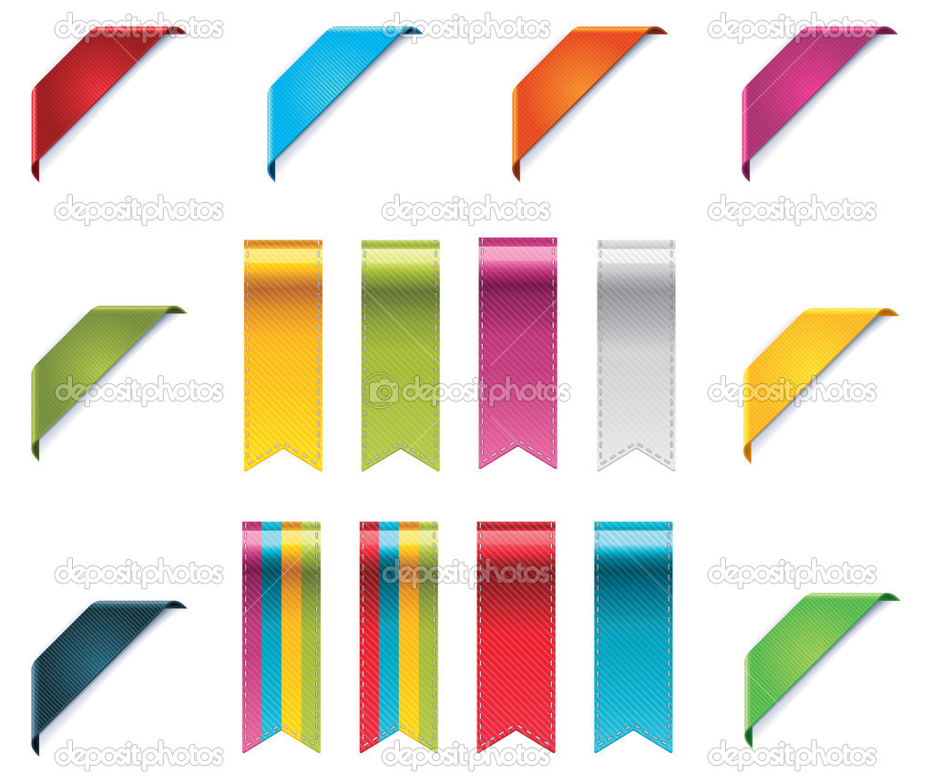Set of corner ribbons and pennons in different colors — Stock Vector #9655022