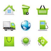 Sada ekologických ikon — Stock vektor
