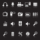 Media and computer icons black — Stock Vector