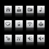 Multimedia web icons, Black series — Stock Vector