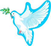The white dove of peace, it is isolated — Vector de stock