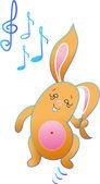 The rabbit is dancing — Stock Vector