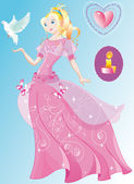 The beautiful princess in the wonderful pink dress — Vector de stock