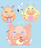 The little animals is funs babies — Vector de stock