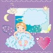 The little angel is sitting in the cloud and hugs it - Stock Vector