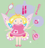 The fairy princess is the little girl — Vector de stock