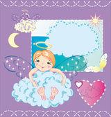 Il piccolo angelo è seduto nel cloud e abbracci e — Vettoriale Stock