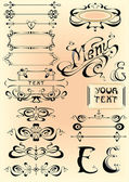 Vector set calligraphic — Stock Vector