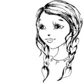 The little girl has drawn in a vector — Vector de stock