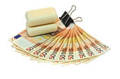 Euro money and soap — Foto de Stock