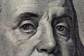 Benjamin Franklin face on a hundred dollars — Stock Photo