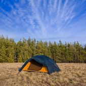 Touristic camp on a forest glade — Stock Photo