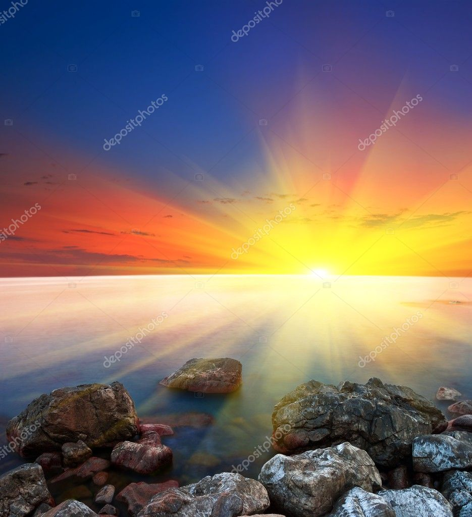 Sea coast with stones at the sunset — Stock Photo #7978061