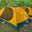 Two touristic tents in forest — 图库照片 #7980368