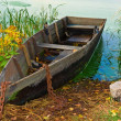 Old fishers boat near river coast — 图库照片 #7983370