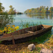Small fisfer boat near a river coast - Stock Photo