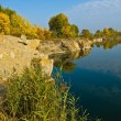 Rocky lake coastline — Foto Stock