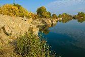 Rocky lake coastline — Stock Photo