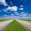 Stock Photo: Two way asphalt road and green fields