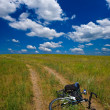 Bicycle in steppe — Stock Photo #8010082