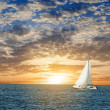 Yacht in a sea at the evening — Stock Photo