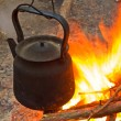 Stock Photo: Tea-pot boiling on a fire