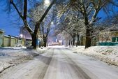 Night town street at the winter — Stock Photo