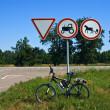 Touristic bicycle under road sign - Stock Photo