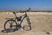 Bicycle among a sandy desert — Stock Photo