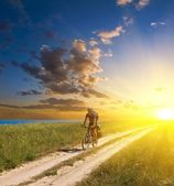 Bicycle rider in a morning steppe — Stock Photo