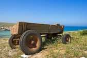 Old cart in a steppe — Stock Photo