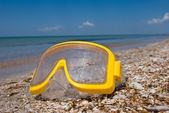 Diving mask on a sea coast — Stock Photo
