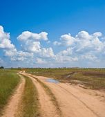Road among a steppe — Fotografia Stock