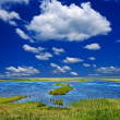 Blue lake in a steppe at the summer — Stock Photo