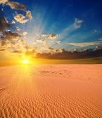 Majestic sunset in a sand desert — Stock Photo