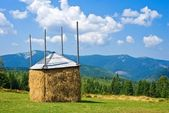 Haystack on a mountain pasture — Stock Photo