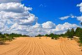 Sandy desert an a blue clouds — Stock Photo