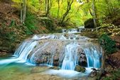 Blue river in a mountain canyon at the autumn — Stock Photo