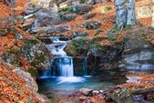 Small river in a autumn mountains — Stock Photo