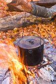 Cauldron in a fire — Stock Photo