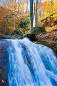 Majestic waterfal in a autumn mountain canyon — Stock Photo