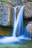 Closeup blue waterfall — Stock Photo