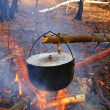 Touristic cauldron in a fire - Stock Photo