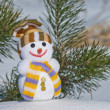 Happy snowman on a fir tree background — Stock Photo