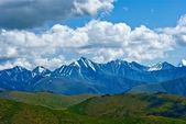 Far mountain chains near a mongolia border — Stock Photo