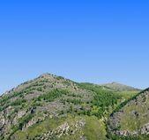 Grünen berg auf blauer himmel hintergrund — Stockfoto